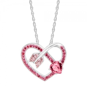 ihocon: Crystaluxe Arrow Heart Pendant with Pink Swarovski Crystals in Sterling Silver 純銀鑲粉紅施華洛世奇水晶項鍊