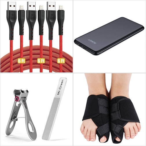 [Amazon折扣碼] iPhone充電線, 20000mAh行動電源/充電寶, 指甲剪及磨指甲器, 姆趾外翻矯正器 額外折扣!