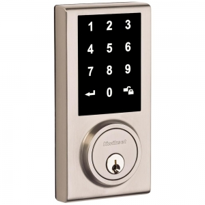 ihocon: Kwikset Limited Edition Satin Nickel Single Cylinder Contemporary Square Touchscreen Deadbolt 觸控螢幕電子鎖