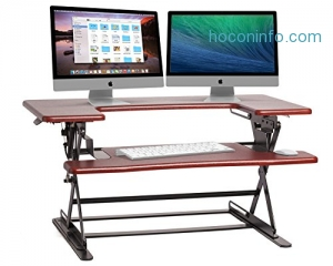 ihocon: Halter ED-600 Preassembled Height Adjustable Desk Sit/Stand Elevating Desktop - Cherry