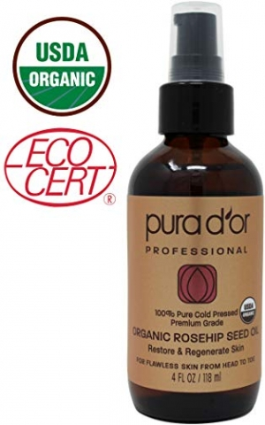 ihocon: PURA D'OR (4 oz) Organic Rosehip Seed Oil 100% Pure Cold Pressed, USDA Certified有機冷壓100%玫瑰果油