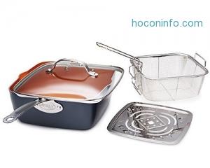 """ihocon: Gotham Steel Titanium Ceramic 9.5"""" Non-Stick Pan With Lid, 4 Piece Set鈦金陶瓷不沾鍋"""