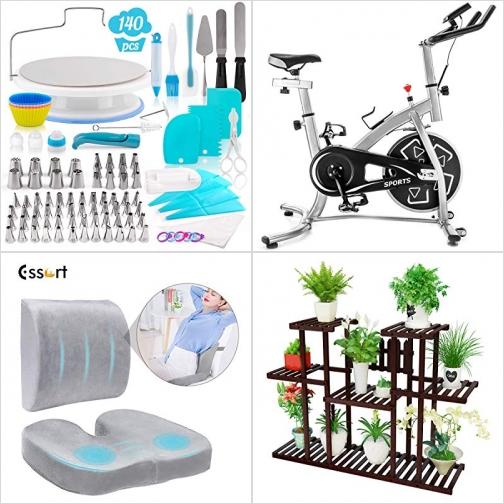 [Amazon折扣碼] 蛋糕裝飾工具, 健身腳踏車, 記憶棉腰墊及坐墊, 三層竹製盆栽架 額外折扣!