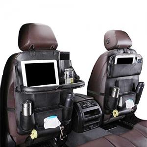 ihocon: Car Back seat Organizer with Foldable Table Tray 人造皮汽座椅收納袋, 含可折疊餐桌