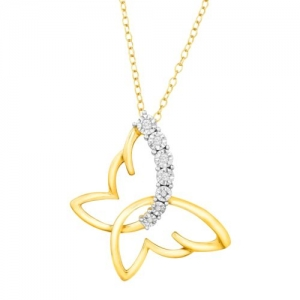 ihocon: Sideways Butterfly Pendant with Diamonds in 14K Gold-Plated Sterling Silver 純銀鍍14K金蝴蝶造形鑽石項鍊