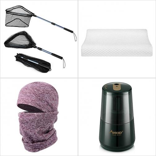 [Amazon折扣碼] 可折疊魚網, 記憶棉枕頭, 保暖頭罩, 電動削鉛筆機 額外折扣!
