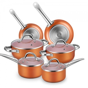 ihocon: Chitomax Hard Porcelain Enamel Aluminum Cookware Sets 10-Piece(Oven Safe to 500℉) 不粘鍋組