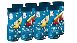 ihocon: Gerber Graduates Puffs, Banana and Strawberry Apple, 8 Count 幼兒小泡芙,香蕉和草莓蘋果,8罐