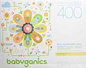 ihocon: Babyganics Face, Hand & Baby Wipes, Fragrance Free, 400 Count (Contains Four 100-Count Packs) 無香精嬰兒濕巾