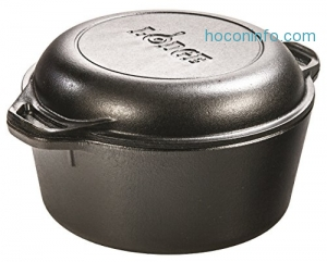 ihocon: Lodge L8DD3 Cast Iron Double Dutch Oven, 5-Quart鑄鐵鍋