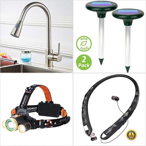 [Amazon折扣碼] 廚房水龍頭, 太陽能超音波驅地鼠器, 充電式LED頭燈, 藍芽無線耳機 額外折扣!