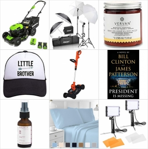 [Amazon今日特賣一覽] 電動除草機/無線除草機, 100% 純棉床單組, 相機補光燈及背影架, 帽子, 身體霜及臉部精華液, 前總統柯林頓 – 失蹤的總統 一日特賣