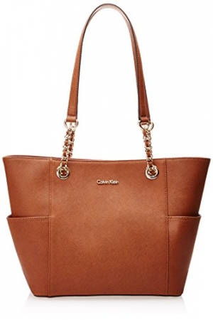ihocon: Calvin Klein Hayden Saffiano Leather East/West Top Zip Chain Tote