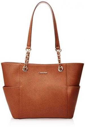 ihocon: Calvin Klein Hayden Saffiano Leather East/West Top Zip Chain Tote