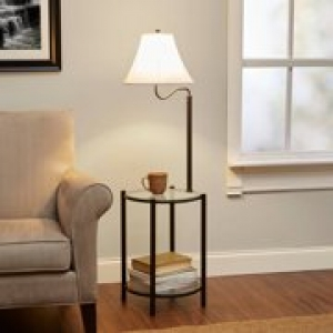 ihocon: Mainstays Transitional Glass End Table Lamp, Matte Black 含燈玻璃桌