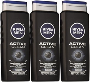 ihocon: NIVEA Men Active Clean Body Wash , Natural Charcoal, 16.9 Fluid Ounce (Pack of 3) 男士活性潔淨沐浴乳