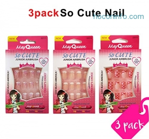 ihocon: Beautia 3pack So Cute Artificial False Junior Nail with Glue 閃亮假指甲