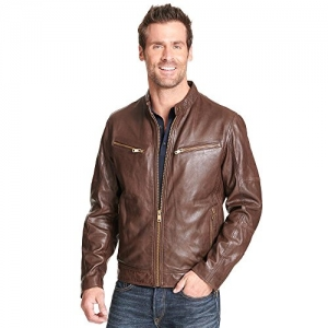 ihocon: Wilsons Leather Mens Vintage Mock Collar Leather Moto Jacket 男士真皮夾克