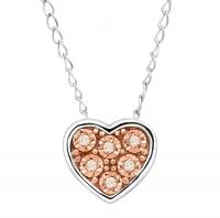 ihocon: Finecraft Teeny Tiny Heart Pendant with Champagne Diamonds鑽石項鍊