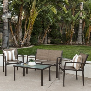 ihocon: Best Choice Products 4-Piece Patio Metal Conversation Furniture Set w/Loveseat, 2 Chairs, and Glass Coffee Table  4件庭院桌椅