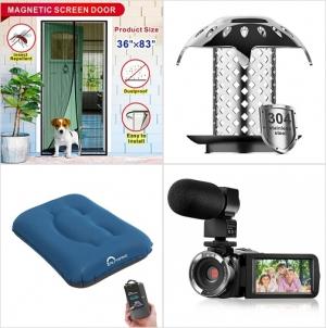 [Amazon折扣碼] 磁性紗門, 浴盆水管防阻塞器, 充氣枕頭, 麥克風攝影機 額外折扣!