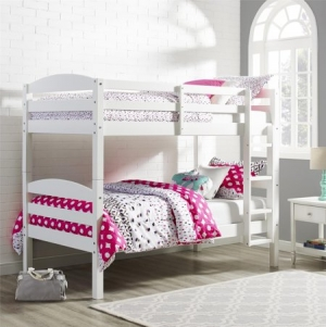 ihocon: Better Homes and Gardens Leighton Twin Over Twin Wood Bunk Bed,White 白色雙層床