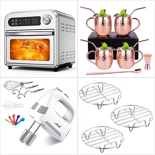 [Amazon折扣碼] 氣炸鍋, Moscow銅杯及吸管, 手持電動攪拌機, 不銹鋼蒸架 額外折扣!