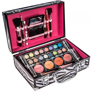 ihocon: SHANY Carry All Makeup Train Case with Pro Makeup and Reusable Aluminum Case, Zebra美妝用品一組+化妝箱