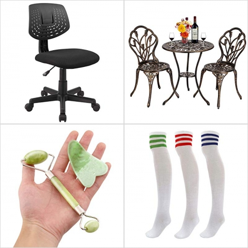 [Amazon折扣碼] 電腦椅/辦公椅, 庭園桌椅組, 玉製刮痧板及按摩滾輪, 長筒女襪 額外折扣!