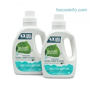 ihocon: Seventh Generation Natural 4X Concentrated Baby Laundry Detergent, 106 loads, 40 Fl Oz (Pack of 2)濃縮嬰兒洗衣精