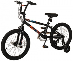ihocon: Mongoose Switch Boy's Freestyle BMX Bike with Training Wheels, 18-Inch Wheels, Black 輔助輪自行車