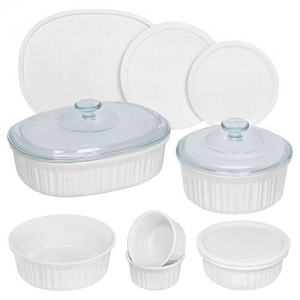 ihocon: CorningWare康寧 French White Round and Oval Bakeware Set (12-Piece)