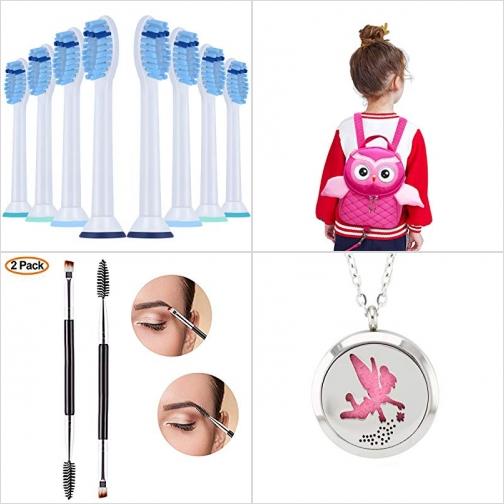 [Amazon折扣碼] 電動牙刷刷頭, 防走失兒童背包, 雙頭眉刷, 精油擴香項鍊 額外折扣!