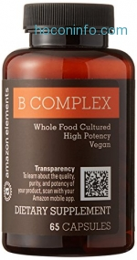 ihocon: Amazon Elements B Complex, High Potency, 83% Whole Food Cultured, Vegan, 65 Capsules
