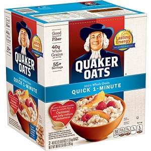 ihocon: Quaker Oats, Quick 1-Minute Oatmeal, Breakfast Cereal, 55 Servings, Two 40oz Bags in Box 貴格快速1分鍾燕麥片