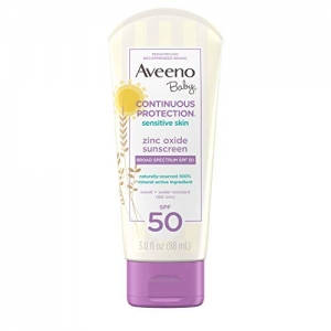 ihocon: Aveeno Baby Continuous Protection Zinc Oxide Mineral Sunscreen Lotion, SPF 50, 3 Fl. Oz (Pack of 3) 嬰兒礦物防曬乳