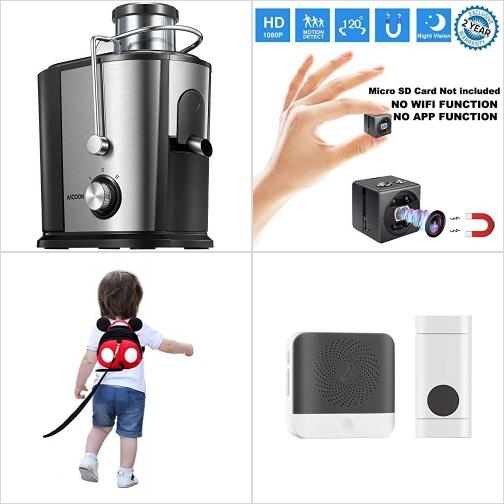 [Amazon折扣碼] 不銹鋼榨汁機, 動作感應迷你/針孔攝影機, 幼兒防走失背包, 無線門鈴 額外折扣!