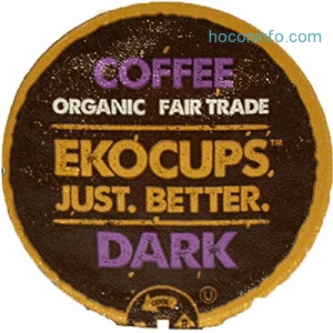 ihocon: EKOCUPS Artisan Organic Dark Coffee, Dark Roast, in Recyclable Single Serve Cups for Keurig K-cup Brewers, 40 count