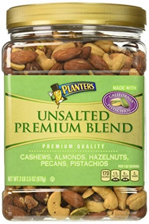 ihocon: Planters Premium Blend Mixed Nuts, Unsalted, 34.5 Ounce Jar 混合堅果,無鹽