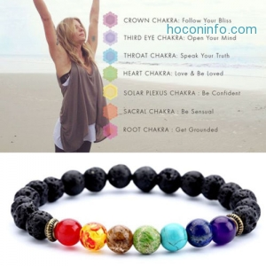 ihocon: 7 Chakra Healing Beaded Bracelet Natural Lava Stone天然火山石脈輪手鍊