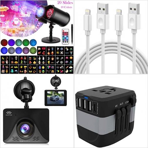 [Amazon折扣碼] 聖誕投影燈, iPhone充電線, 行車記錄器, 萬用旅行插座 額外折扣!