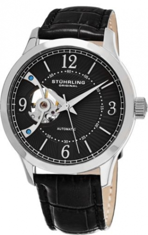 ihocon: Stuhrling Men's Automatic Wind Open-Heart Watch Genuine Leather Strap 987.02 男士真皮錶帶男錶