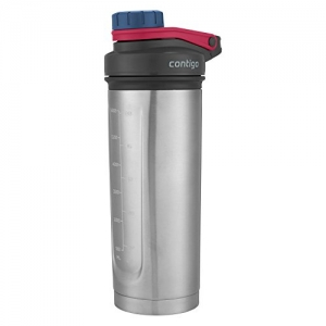 ihocon: Contigo Vaccuum-Insulated Shake & Go Fit Stainless Steel Shaker Bottle, 24 oz, Dusted Navy 不銹鋼雪克保温杯