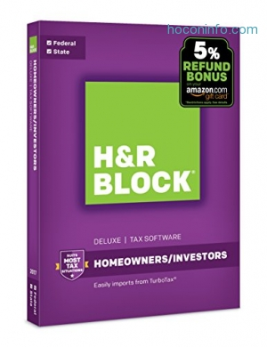 ihocon: H&R Block Tax Software Deluxe + State 2017 with 5% Refund Bonus Offer