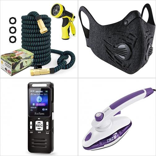 [Amazon折扣碼] 伸縮澆花水管, 活性碳口罩, 數位錄音機, 手持蒸氣熨斗 額外折扣!