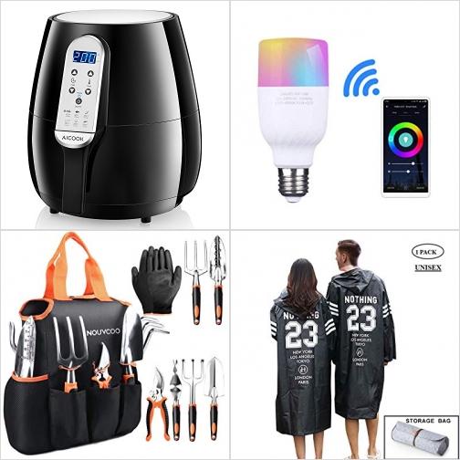 [Amazon折扣碼] 氣炸鍋, 智能WiFi LED彩色燈泡, 園藝工具, 輕便雨衣 額外折扣!