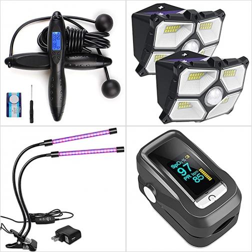 [Amazon折扣碼] 自動計數跳繩, 太陽能動作感應LED室外燈, 植物生長燈, 血氧測量儀 額外折扣!