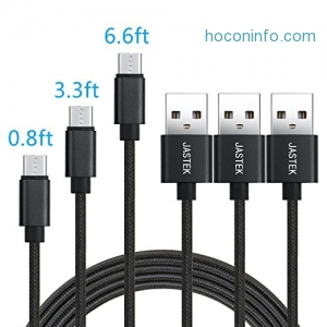 ihocon: JASTEK Micro USB Cable 3Pack (0.8ft, 3.3ft, 6ft)
