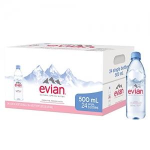 ihocon: evian Natural Spring Water Bottles, 16.9 Fl Oz, Pack of 24 天然礦泉水