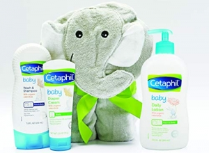 ihocon: Cetaphil Baby Sensitive Skin Bath Time Essentials Gift Set with Elephant Hoodie Towel 嬰兒禮品組